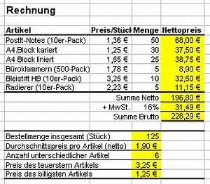 Excel Tabelle Berechnen : excel training ~ Themetempest.com Abrechnung