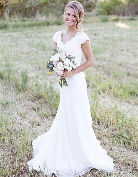 rustic lace weddingdresses cap sleeves sheath weding