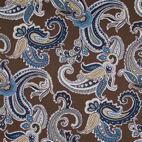 Blue Paisley Upholstery Fabric by Navy Blue Paisley Cotton Upholstery Fabric Blue Brown