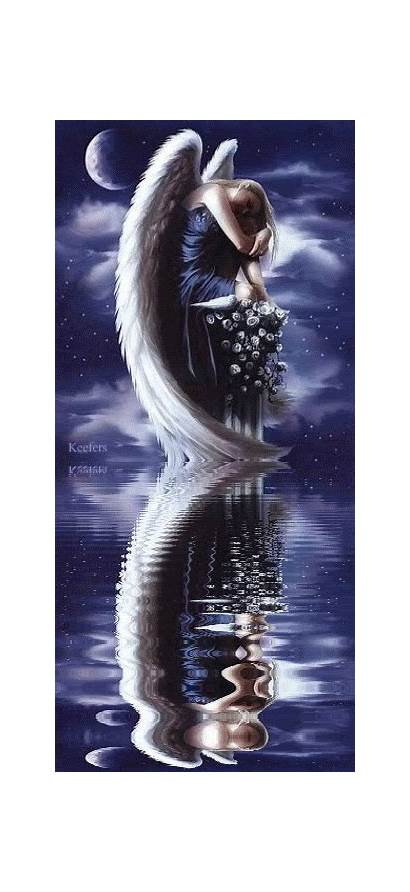 Angel Angels Animated Water Sad Reflection Gifs