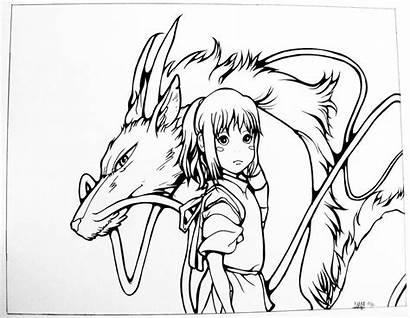 Chihiro Haku Line Ghibli Spirited Away Coloring