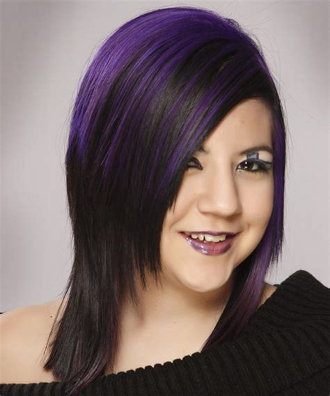 And Black Two Tone Hairstyles by Alternative Medium Hairstyle Black And Purple