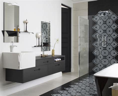 meuble haut cuisine salle de bains raffinement en noir et blanc styles de bain