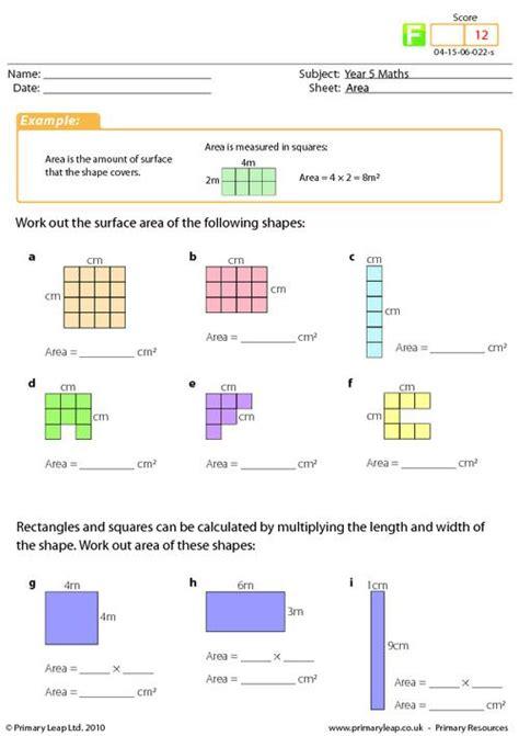 year 4 maths area worksheet math workshop