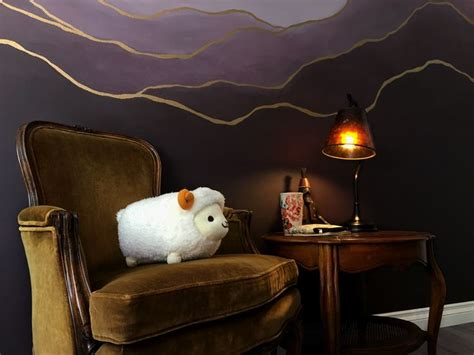 purple wall paint ombre eggplant indoor mural  gold