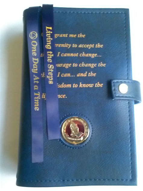 aa double book cover serenity prayer blue
