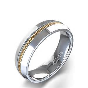 unique mens wedding ring unique high channel 39 s wedding ring in 14k two tone white gold