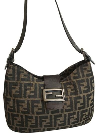 fendi zucca signature monogram  leather strap shoulder