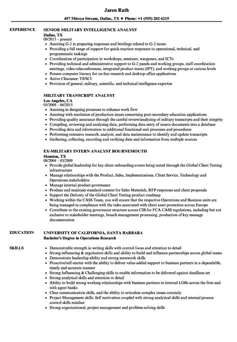 operations research analyst sle resume sle high