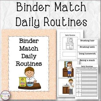 binder match daily routines  worksheets routine