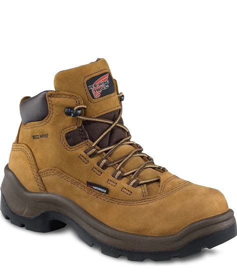 red wing safety shoes men high cut brown male models picture