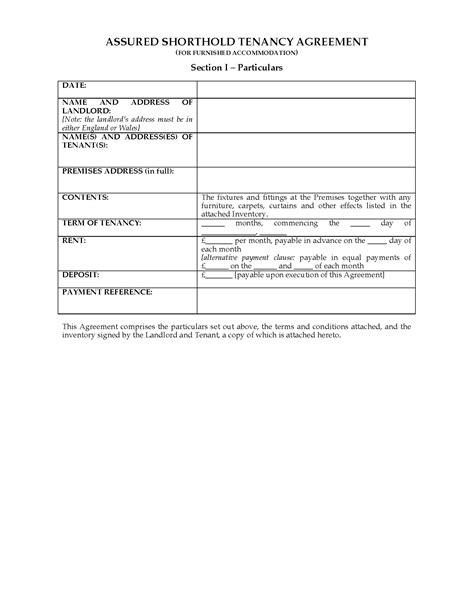 uk assured shorthold tenancy agreement furnished premises