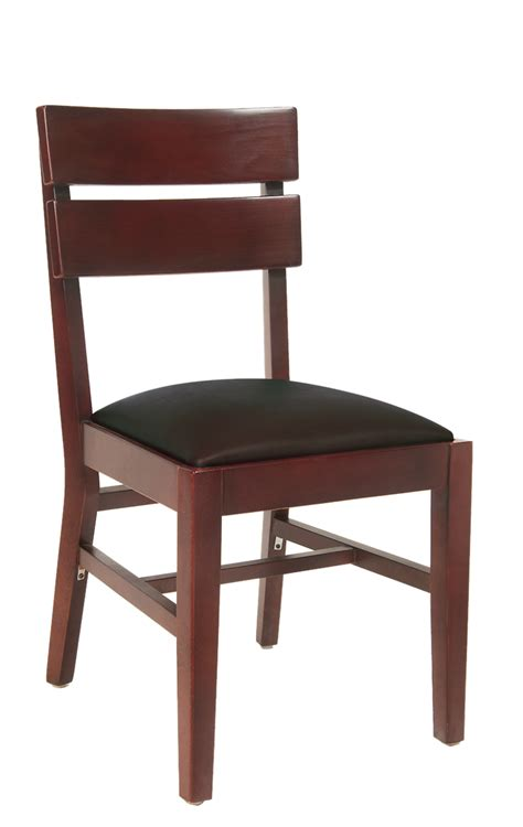 wood slats dining chair with black vinyl seat
