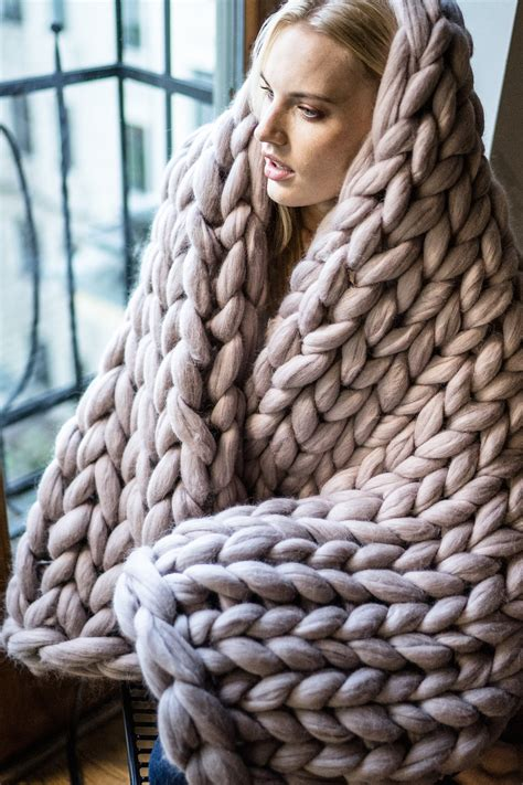 how to knit large blanket chunky knit blanket giant yarn throw wrap arm by woolartdesign
