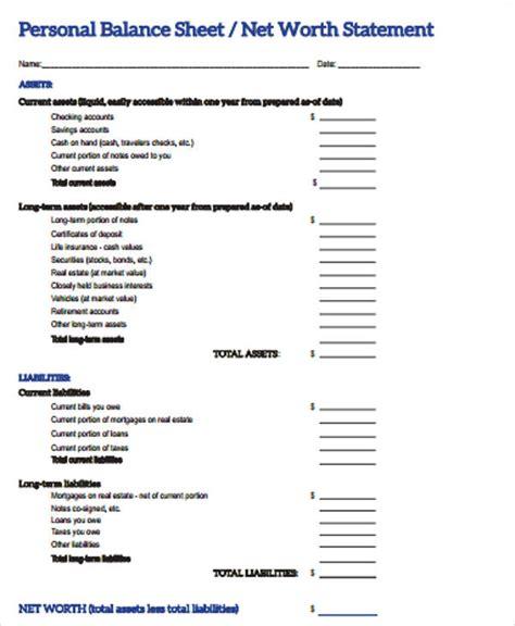personal balance sheet 7 exles in word pdf