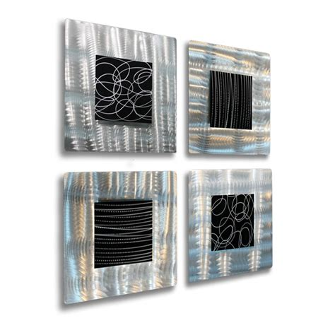 black metal wall decor set of 4 silver black metal wall accent sculpture