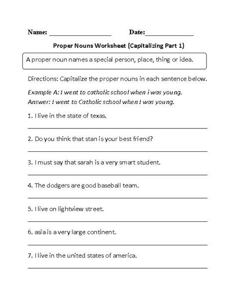 proper  common nouns worksheets capitalizing proper