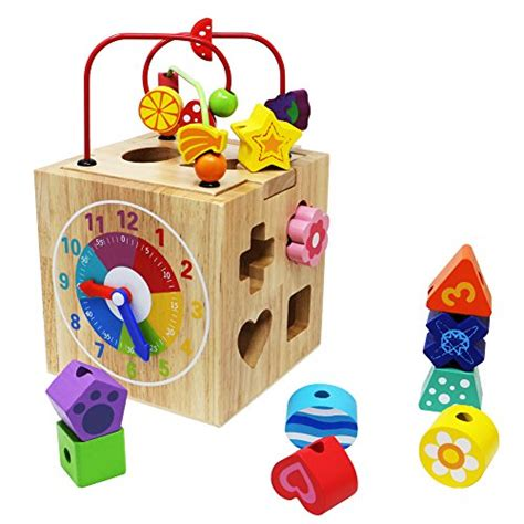 Toyssa Learning Bead Maze Wooden Educational Toys Activity Center With 10 Shapes Blocks For