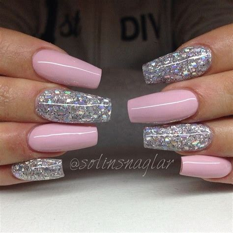 baby pink  holographic glitter coffin nails nails