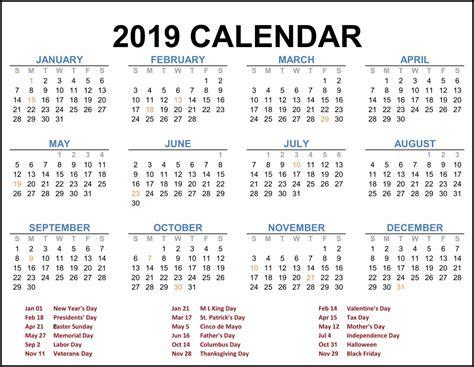 2019 Federal Holiday Calendar #calendar2019