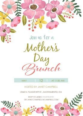 Celebrate Mothers Day Pretty Luncheon by Printable Watercolor S Day Brunch Invitation