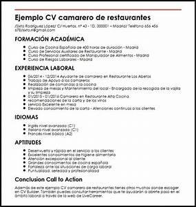 Ejemplo CV Camarero De Restaurantes MiCVideal