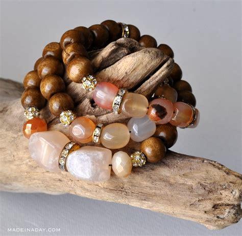 diy wood stone bead bracelets    day