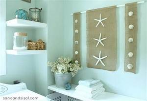Diy wall art coastal burlap craft for bathroom