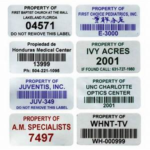 stock fixed asset labels mylar inventory labels With inventory asset tags