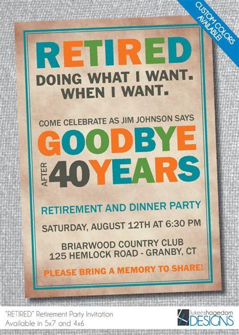 retirement party invitation custom colors