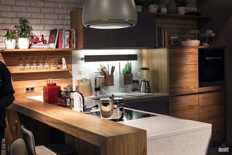 kitchen modern with open shelving concrete counters k c r