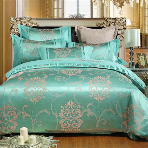 Satin Silk Embroidery Jacquard Bedding Set Comforter Blue