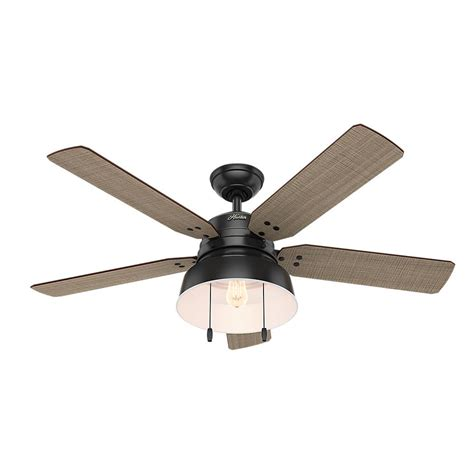 matte black ceiling fan hunter mill valley 52 in led indoor outdoor matte black