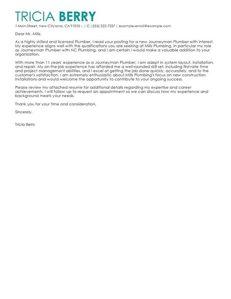 leading professional journeymen plumbers cover letter