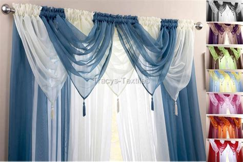 Swag Drapes And Curtains - voile swag swags tassle decorative net curtain drapes