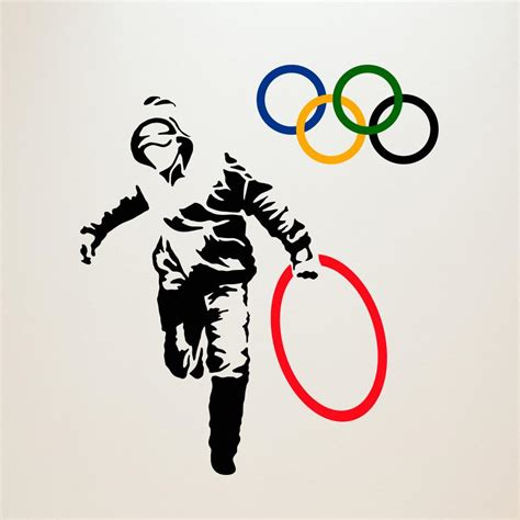 bathroom ideas with shower curtains stealing olympic rings banksy wall decals wallsneedlove