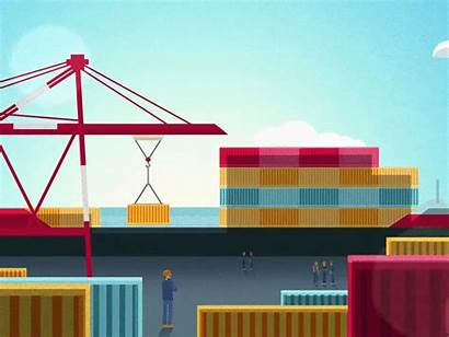 Container Terminal Drop Exports H1 Ship Animation