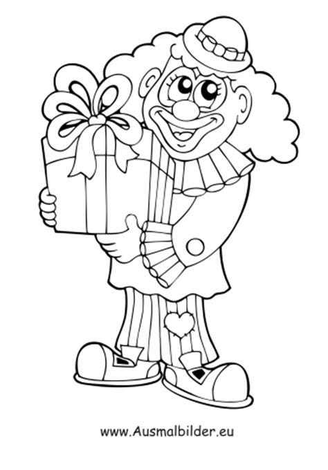 ausmalbilder clown mit geschenk zirkus malvorlagen
