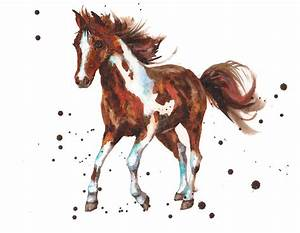 Watercolor Horse Painting Painting by Alison Fennell
