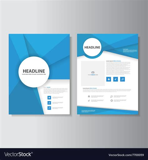 Leaflet Template by Blue Abstract Brochure Flyer Leaflet Templates Set Vector