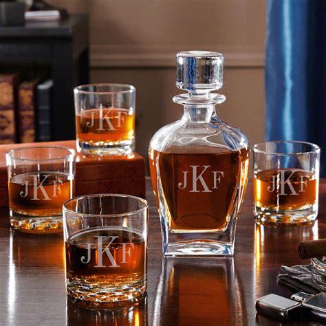 Whiskey Barware by Draper Liquor Decanter Set With Whiskey Glasses