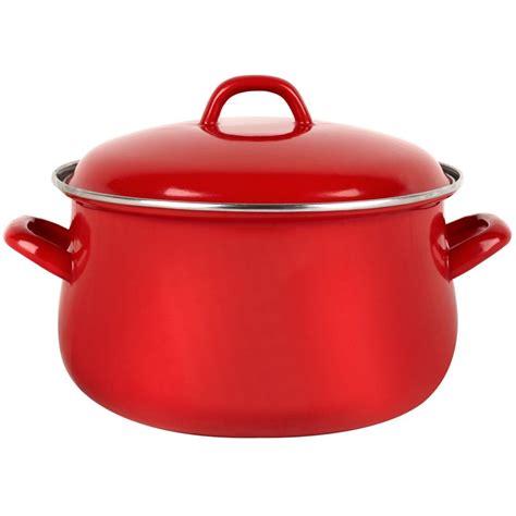 swan 20cm enamel cooking stock pot casserole dish kitchen oven saucepan pan lid ebay