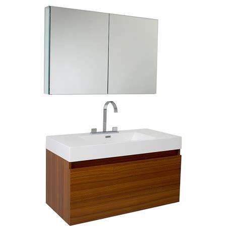 39 Inch Teak Modern Bathroom Vanity With Medicine Cabinet