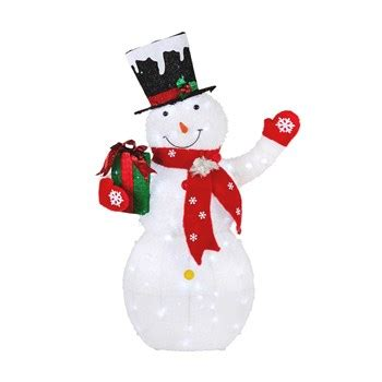 snowman holding gift led yard decor christmas tree
