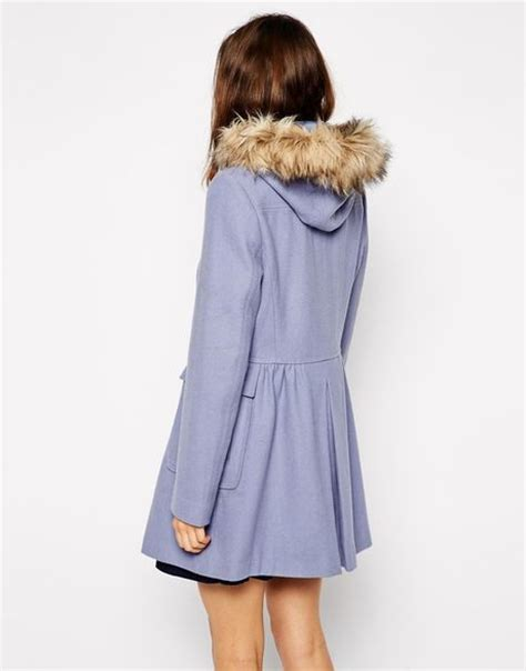 light blue faux fur coat asos faux fur hooded duffle coat in blue lightblue lyst