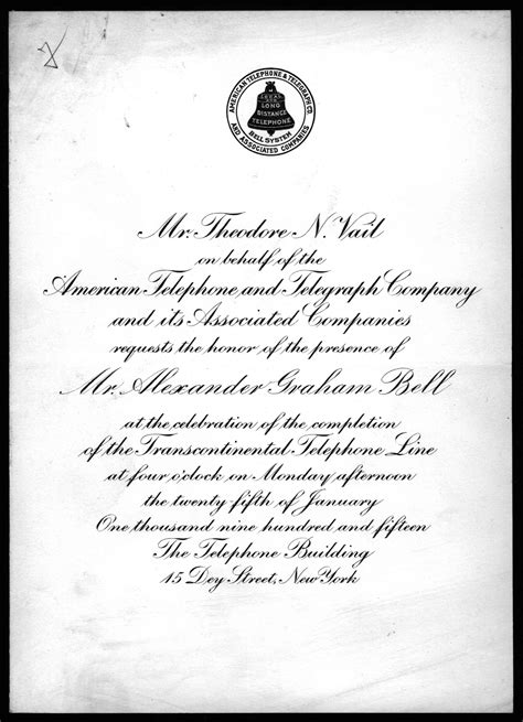invitation  theodore  vail  alexander graham bell