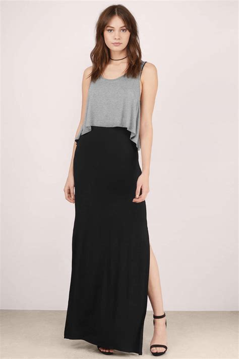 Maxi Black And Grey grey black maxi dress grey dress tiered dress