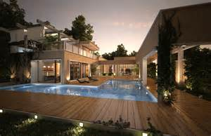 home with pool house with pool renders