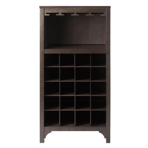 wine rack storage cabinet amazon com winsome ancona wine cabinet with glass rack