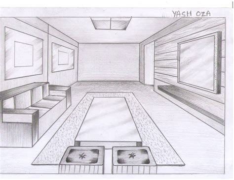 One Point Perspective Living Room Drawing : Drawing Room One Point Perspective